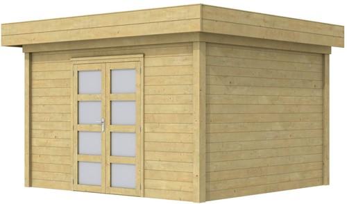 Blokhut Parelhoen, afm. 400 x 300 cm, plat dak, houtdikte 28 mm. - groen geïmpregneerd