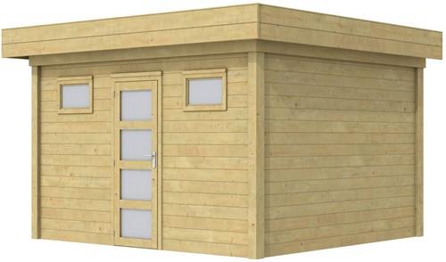 Blokhut Kievit, afm. 395 x 303 cm, plat dak, houtdikte 28 mm. - groen geïmpregneerd