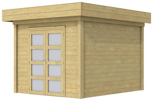 Blokhut Bosuil, afm. 300 x 300 cm, plat dak, houtdikte 28 mm. - groen geïmpregneerd