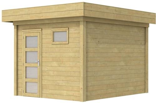 Blokhut Tapuit, afm. 303 x 303 cm, plat dak, houtdikte 28 mm. - groen geïmpregneerd
