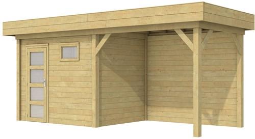 Blokhut Korhoen met luifel van 300 cm, afm. 600 x 200 cm, plat dak, houtdikte 28 mm. - groen geïmpregneerd