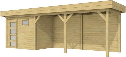 Blokhut Korhoen met luifel van 500 cm, afm. 787 x 203 cm, plat dak, houtdikte 28 mm. - groen geïmpregneerd