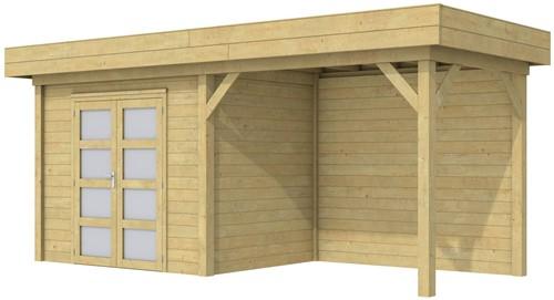 Blokhut Koekoek met luifel 400, afm. 689 x 203 cm, plat dak, houtdikte 28 mm. - groen geïmpregneerd