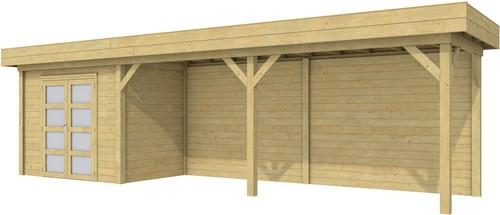 Blokhut Koekoek met luifel 600, afm. 887 x 203 cm, plat dak, houtdikte 28 mm. - groen geïmpregneerd