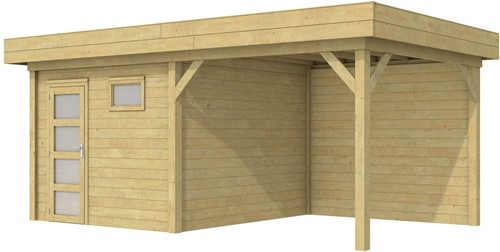 Blokhut Tapuit met luifel 300, afm. 596 x 303 cm, plat dak, houtdikte 28 mm. - groen geïmpregneerd