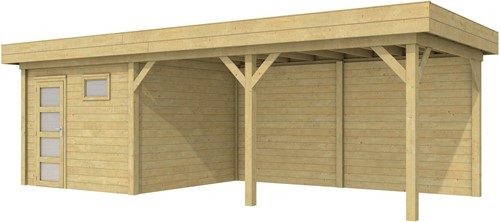 blokhut Tapuit met luifel 500, afm. 787 x 303 cm, plat dak, houtdikte 28 mm. - groen geïmpregneerd