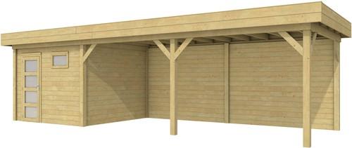 Blokhut Tapuit met luifel 600, afm. 887 x 303 cm, plat dak, houtdikte 28 mm. - groen geïmpregneerd