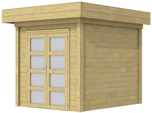 Blokhut Kolibri, afm. 250 x 250 cm, plat dak, houtdikte 28 mm. - groen geïmpregneerd