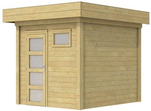 Blokhut Kuifmees, afm. 253 x 253 cm, plat dak, houtdikte 28 mm - groen geïmpregneerd