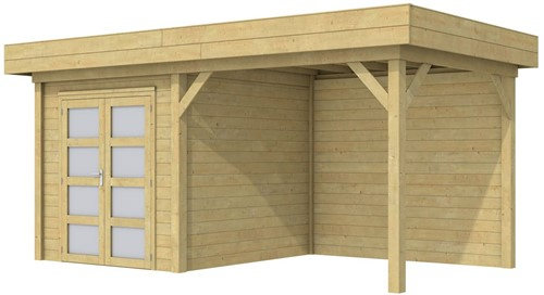 Blokhut Kolibri met luifel 300, afm. 543 x 253 cm, plat dak, houtdikte 28 mm. - groen geïmpregneerd