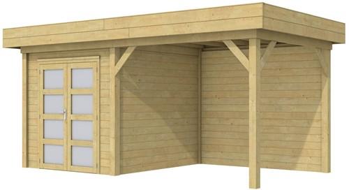 Blokhut Kolibri met luifel 400, afm. 650 x 250 cm, plat dak, houtdikte 28 mm. - groen geïmpregneerd
