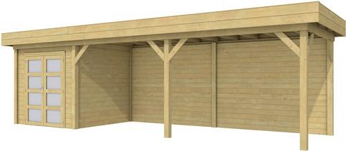 Blokhut Kolibri met luifel 600, afm. 834 x 253 cm, plat dak, houtdikte 28 mm. - groen geïmpregneerd