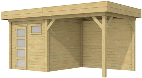 Blokhut Kuifmees met luifel 300, afm. 543 x 253 cm, plat dak, houtdikte 28 mm - groen geïmpregneerd