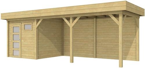 Blokhut Kuifmees met luifel 500, afm. 750 x 250 cm, plat dak, houtdikte 28 mm. - groen geïmpregneerd
