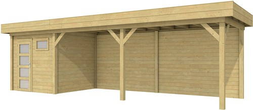 Blokhut Kuifmees met luifel 600, afm. 850 x 250 cm, plat dak, houtdikte 28 mm, - groen geïmpregneerd