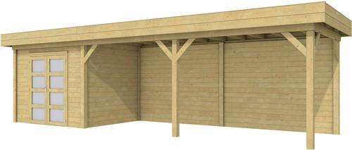 Blokhut Bonte Specht met luifel 600, afm. 900 x 250 cm, plat dak, houtdikte 28 mm. - groen geïmpregneerd
