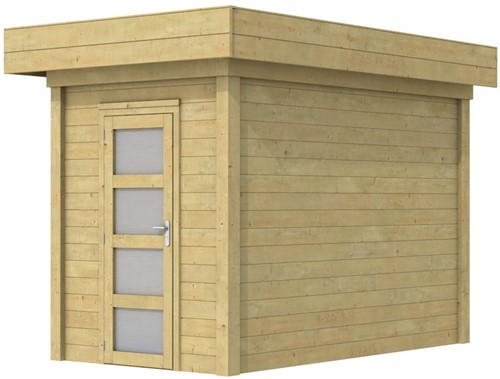 Blokhut Kiekendief, afm. 200 x 300 cm. plat dak, houtdikte 28 mm. - groen geïmpregneerd