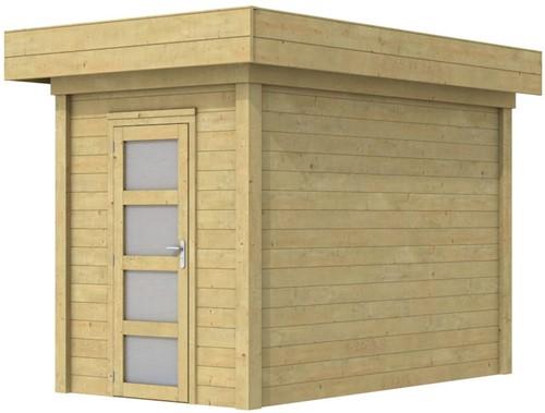 Blokhut Kiekendief, afm. 203 x 303 cm. plat dak, houtdikte 28 mm. - groen geïmpregneerd