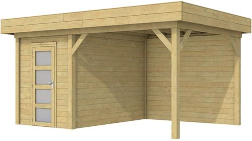 Blokhut Kiekendief met luifel 300, afm. 500 x 300 cm, plat dak, houtdikte 28 mm. - groen geïmpregneerd