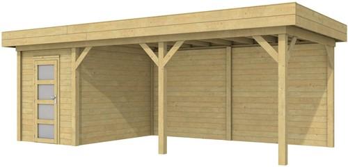 Blokhut Kiekendief met luifel 500, afm. 684 x 303 cm, plat dak, houtdikte 28 mm. - groen geïmpregneerd