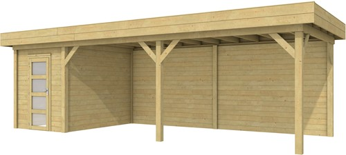 Blokhut Kiekendief met luifel 600, afm. 784 x 303 cm, plat dak, houtdikte 28 mm. - groen geïmpregneerd