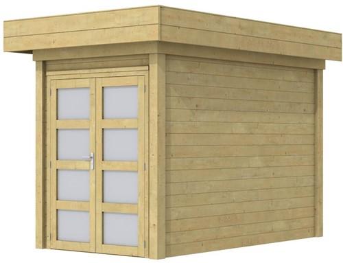 Blokhut Zwaluw, afm. 203 x 303 cm, houtdikte 28 mm, plat dak - groen geïmpregneerd