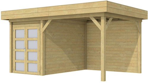 Blokhut Zwaluw met luifel 300, afm. 493 x 303 cm, plat dak,  houtdikte 28 mm. - groen geïmpregneerd