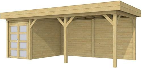 Blokhut Zwaluw met luifel 500, afm. 700 x 300 cm, plat dak, houtdikte 28 mm. - groen geïmpregneerd