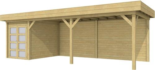 Blokhut Zwaluw met luifel 600, afm. 784 x 303 cm, plat dak, houtdikte 28 mm. - groen geïmpregneerd