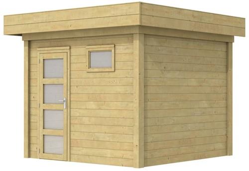 Blokhut Bonte Kraai, afm. 303 x 253 cm, plat dak, houtdikte 28 mm. - groen geïmpregneerd