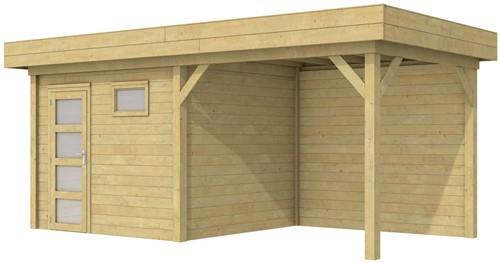 Blokhut Bonte Kraai met luifel 300, afm. 596 x 253 cm, plat dak, houtdikte 28 mm. - groen geïmpregneerd
