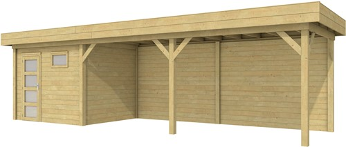 Blokhut Bonte Kraai met luifel 600, afm. 887 x 253 cm, plat dak, houtdikte 28 mm. - groen geïmpregneerd