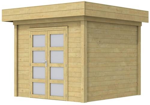Blokhut Bonte Specht, afm. 303 x 253 cm, plat dak, houtdikte 28 mm. - groen geïmpregneerd