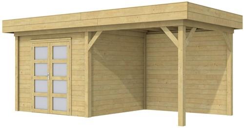 Blokhut Bonte Specht met luifel 300, afm. 596 x 253 cm, plat dak, houtdikte 28 mm. - groen geïmpregneerd