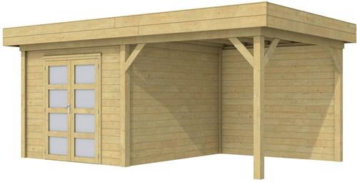 Blokhut Bosuil met luifel 400, afm. 689 x 303 cm, plat dak, houtdikte 28 mm. - groen geïmpregneerd