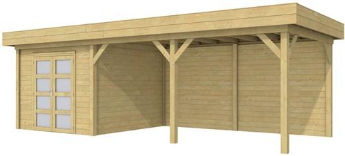 Blokhut Bosuil met luifel 500, afm. 787 x 303 cm, plat dak, houtdikte 28 mm. - groen geïmpregneerd