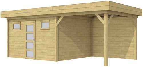 Blokhut Kievit met luifel 300, afm. 700 x 300 cm, plat dak, houtdikte 28 mm. - groen geïmpregneerd