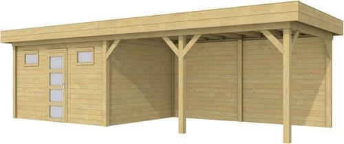 Blokhut Kievit met luifel 500, afm. 900 x 300 cm, plat dak, houtdikte 28 mm. - groen geïmpregneerd
