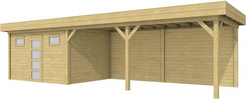 Blokhut Kievit met luifel 600, afm. 976 x 303 cm, plat dak, houtdikte 28 mm. - groen geïmpregneerd