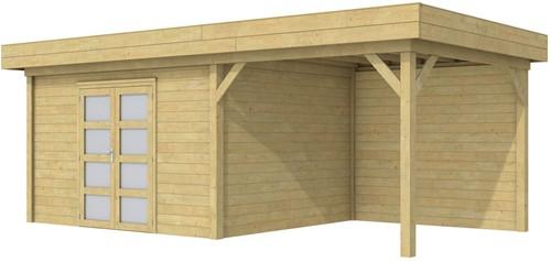 blokhut Parelhoen met luifel 300, afm. 686 x 303 cm, plat dak, houtdikte 28 mm. - groen geïmpregneerd