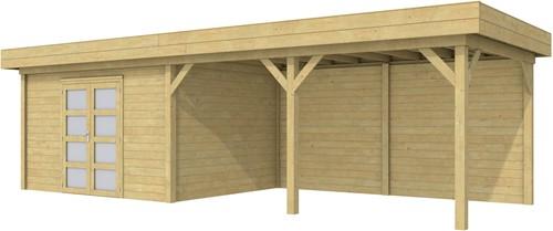 Blokhut Parelhoen met luifel 500, afm. 876 x 303 cm, plat dak, houtdikte 28 mm. - groen geïmpregneerd