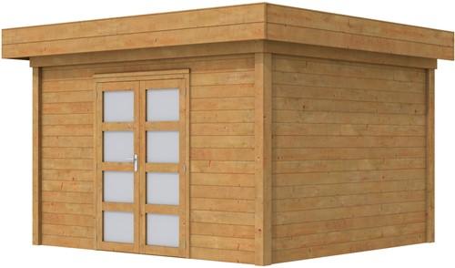 Blokhut Parelhoen, afm. 400 x 300 cm, plat dak, houtdikte 28 mm. - bruin geïmpregneerd