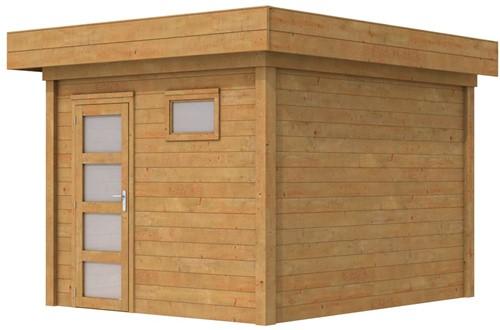 Blokhut Tapuit, afm. 300 x 300 cm, plat dak, houtdikte 28 mm. - bruin geïmpregneerd