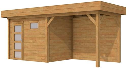 Blokhut Korhoen met luifel van 400 cm, afm. 700 x 200 cm, plat dak, houtdikte 28 mm. - bruin geïmpregneerd