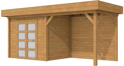 Blokhut Koekoek met luifel 400, afm. 700 x 200 cm, plat dak, houtdikte 28 mm. - bruin geïmpregneerd