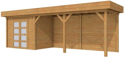 Blokhut Koekoek met luifel 500, afm. 800 x 200 cm, plat dak, houtdikte 28 mm. - bruin geïmpregneerd