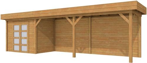 Blokhut Koekoek met luifel 600, afm. 900 x 200 cm, plat dak, houtdikte 28 mm. - bruin geïmpregneerd