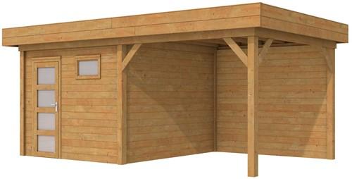 Blokhut Tapuit met luifel 300, afm. 600 x 300 cm, plat dak, houtdikte 28 mm. - bruin geïmpregneerd
