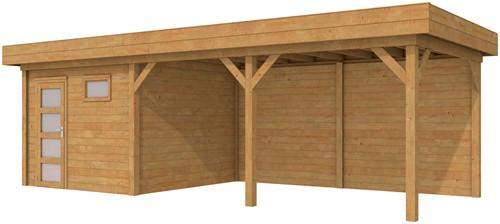 blokhut Tapuit met luifel 500, afm. 800 x 300 cm, plat dak, houtdikte 28 mm. - bruin geïmpregneerd