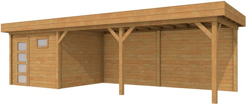 Blokhut Tapuit met luifel 600, afm. 900 x 300 cm, plat dak, houtdikte 28 mm. - bruin geïmpregneerd
